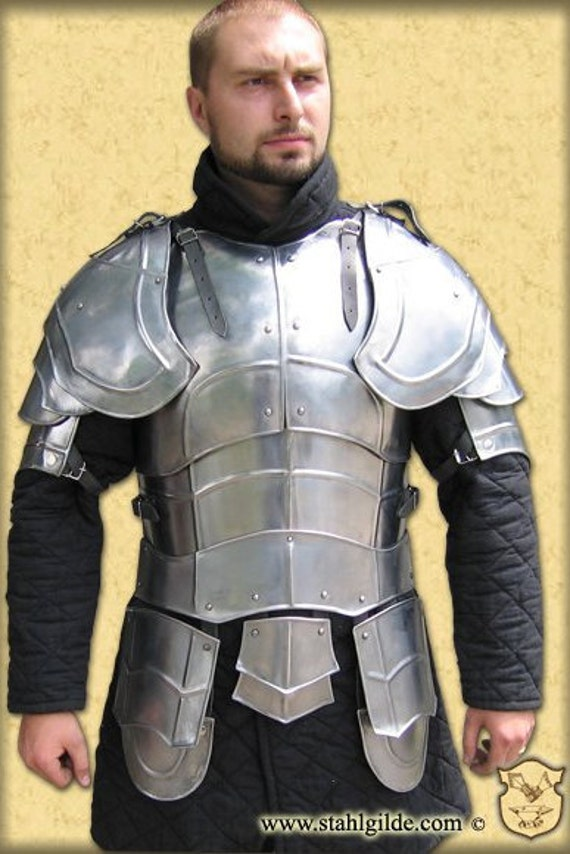 Larp, fantasy, medieval, costume, steel armour: Gorget padded