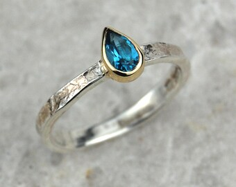 Blue Topaz Ring | December Birthstone Ring | Pear Shaped Ring | Teardrop | Swiss Blue Topaz | Textured Ring | Blue Gemstone Ring | Alice