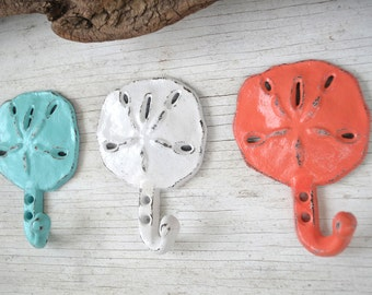 Beach Decor 3 Cast Iron Sand dollar Hook, Coat hook, Tropical Decor, Wall hook