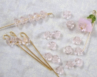 Very Pale Pink Baby Bell Glass Flower Beads, 25
