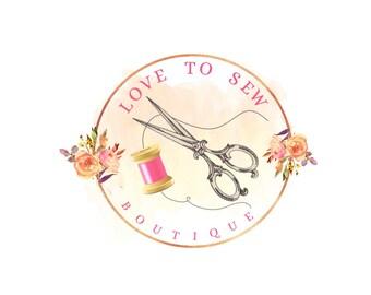 Sewing logo, Sew logo design, Thread Logo, Scissors Logo, Premade sew logo, Watercolor logo, Yarn logo, Seamstress logo, Knit logo design