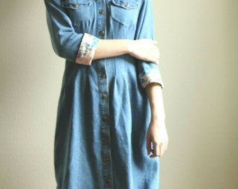 Denim Shirt Dress, Pink Floral Cuffs, Upcycled Denim, Jean Dress, Floral dress, Spring dress