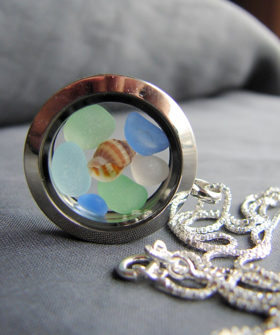 Porthole sea glass locket in pastel shades