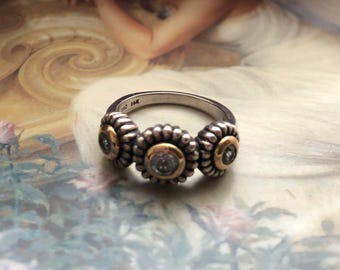 Beautiful Sky Blue Topaz Sterling Silver and Gold Ring, size 7