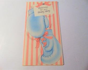 Vintage Buzza Baby Shower Gift Card, Vintage Rhinestone Baby Boy Gift Tag, Boxing Gloves Fold open Gift Tag, Baby Boy Girl