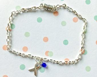 Colon Cancer Awareness Bracelet, Colon Cancer Support Bracelet, Blue Ribbon, Colon Cancer Survivor Ribbon, Blue Awareness Bracelet
