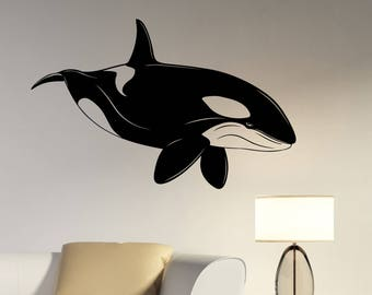 Killer Whale Wall Decal Ocean Animal Vinyl Sticker Sea Life Underwater Wildlife Art Decorations for Home Room Bathroom Aquatic Decor sa4