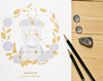 Pisces Constellation Print with gold details
