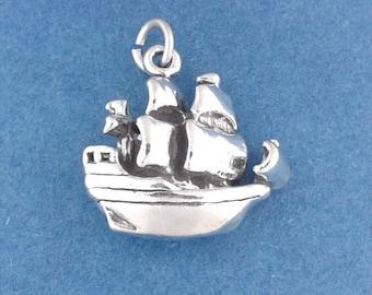 PIRATE SHIP Charm .925 Sterling Silver Pendant - lp3698
