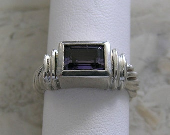Inexpensive Natural Amethyst Ring Sterling Silver Circa 1970