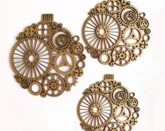 Steampunk Ornaments 3 piece set Laser Cut Chipboard FREE SHIPPING! in US