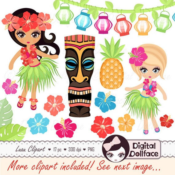hawaiian luau clipart hula girl hibiscus tiki clip art rh etsy com tiki torch clipart tiki hut clipart