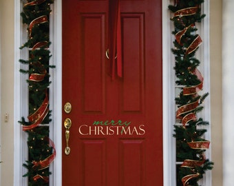Merry Christmas Decor -Small Decal -  Merry Christmas Front Door  Decal - Christmas Decoration