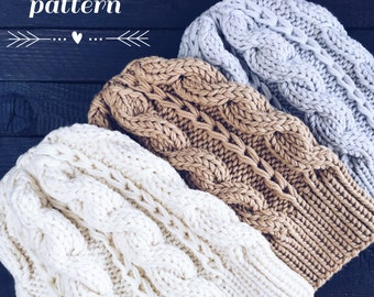 Pattern: Woolture ADELE Beanie Pattern Instant Download / Knit Hat Pattern / Cable Beanie Knitting Instructions