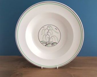 Vintage Wedgwood Keith Murray Green Tree / Weeping Willow Bowl c1941