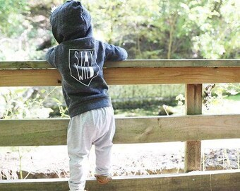 Stay Wild Kids Zip Up Hoodie, Baby Jacket, Modern Kids Clothes
