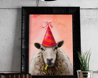 Party Sheep  Original Illustration Art Print Mixed Media Painting Wall Art Wall Decor Wall Hanging