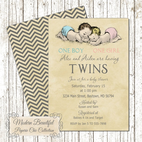 Twin boy and girl vintage baby shower invitation vintage like this item filmwisefo Choice Image