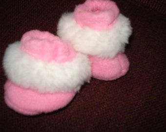 "doll Baby 15"" Doll Clothes - Pink fleece fabric with white furry trim  Slippers Booties"
