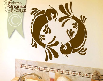 Koi Wall Decal - Pisces Yin Yang Wall Decal, Koi Fish Art, Asian Wall Decal Art, Asian Decor, Bathroom Wall Decal