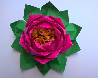 20 Petals Lotus With Stamina Paper Flower Water Lily