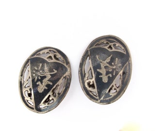 Vintage Clip On Earrings Niello Dancers Oval Oxidized Clips