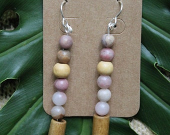 Glass and wooden beaded earrings
