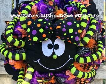 Deluxe Colorful Spider Halloween Wreath