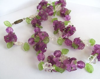 Vintage Purple Flowers Long Necklace, Violets, Mid Century Floral Beaded Necklace, Botanical Jewelry, Flower Beads Necklace, Spring Violets