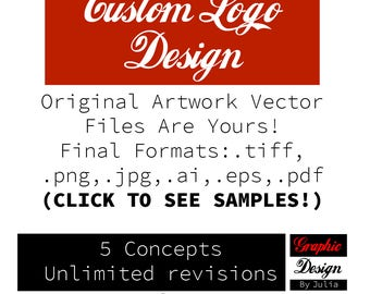 Custom Logo Design Unlimited Revisions, for Shop or Business Branding or Rebranding 5 Initial Concepts