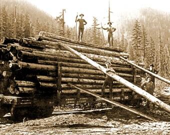 "1900 Corvallis & Eastern RR Logging Car, OR Vintage Photograph 11"" x 17"" Reprint"