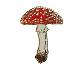 Enamel Pin - Mushroom - Amanita muscaria - Natural Values - Ryan Berkley Illustration - Pin - Cloisonne - Woodland - Forest Art