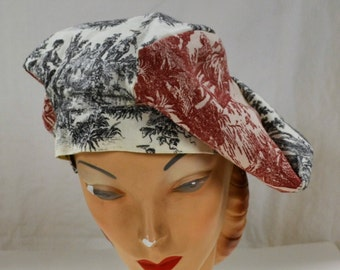 Harlequin Jester Hat Muffin Hat Hybrid  red and black toile