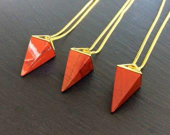 red jasper necklace, red necklace, red jasper jewelry, red jasper pendant, red jasper stone, crystal necklace, red jasper, boho necklace