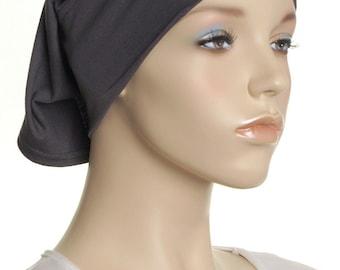 Extra Wide Headband / Dark Grey Cotton Head Band / Gift For Her / Plain Head Wrap / Womens Yoga Headbands / Chemo Cap / Underscarf