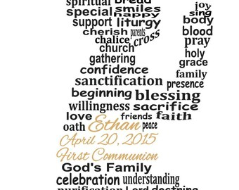 Boy First Communion Word Art, First Communion Gift, Christian Word Art, Religious Art, Personalized Word Art, PRINTABLE DIGITAL FILE