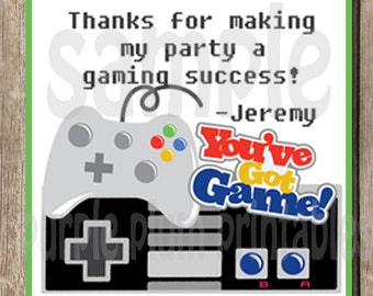 Personalized -  Video Game Favor Tag - Video Gamer Birthday Party - Print at Home