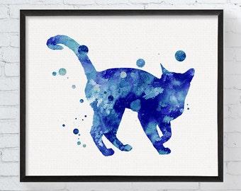 Watercolor Cat - Cat Painting - Cat Wall Art - Cat Decor - Cat Illustration - Bombay Cat Art Print, Cat Memorial, Cat Gifts, Pet Gifts, Art