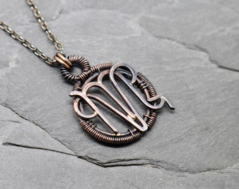 Aries Scorpio necklace wire wrapped copper