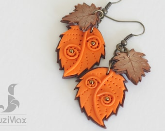 Leaf Earrings, Orange Leaf Earrings, Maple Leaf Earrings, Orange Earrings, Brown Earrings, Leaf Jewelry, Orange Jewelry, Maple Leaf Jewelry