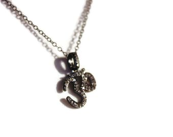 Diamond Ohm Pendant  in sterling silver, Pave ohm Pendant, Holiday Gift for her by SylviaJewelry