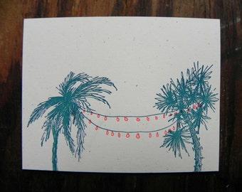 Single Letterpress Postcard Festive Palms