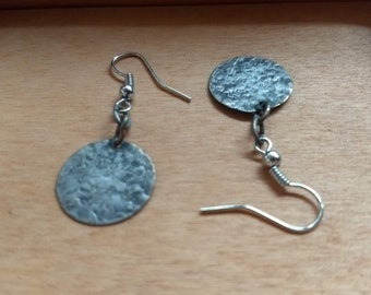 Recycled bronze coin earrings