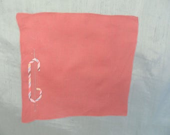 Monogram C embroidered AS IS handkerchief / initial C hankie