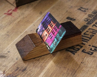 Bourbon Barrel Business Card Holder / Upcycled Bourbon Barrel Desk Top Business Card Display / Recycled Wood Card Stand
