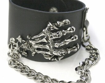 Halloween Skeleton , Punk Style Leather Bracelet