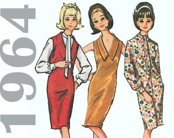 1960s Sheath Dress MCCALLS 7421 sz 14 b 34 UNCUT V-neck Dress Fitted Dress Tie Neck Dress Ascot Blouse Vintage Jumper Dress Jumper Pattern