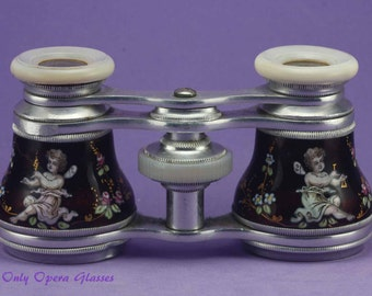 Enamel Opera Glasses / Antique Opera Glasses / Binoculars / Jumelles / Opernglas / Theater Glasses/ Antikes Fernglas / Cupids / Putti