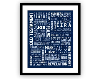 Confirmation Gift, Scripture Art Print, Books of the Bible, Bible Wall Art, Graduation Gift, Christian Wall Art, Confirmation Gift Boy,