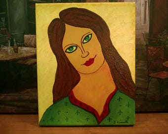 Valentine / Couple Art / Green Eyes / One of Pair / Portrait of Young Woman / Original Painting / Ready to Hang / Familiar Faces Collection